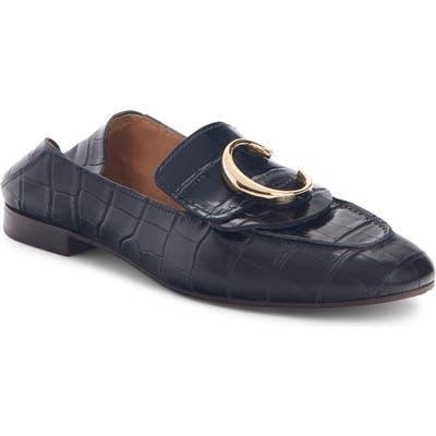 Chloe C Croc-Embossed Convertible Loafer, Black