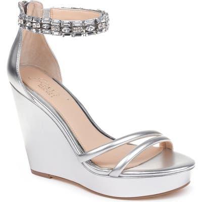 Jewel Badgley Mischka Kathleen Ankle Strap Wedge Sandal, Metallic