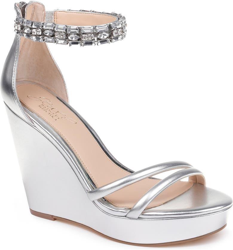 JEWEL BADGLEY MISCHKA Kathleen Ankle Strap Wedge Sandal, Main, color, SILVER METALLIC