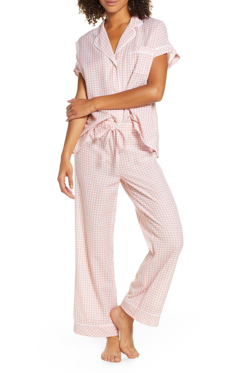 MADEWELL Gingham Check Bedtime Pajamas, Main, color, BESSY GINGHAM SWEET DAHLIA