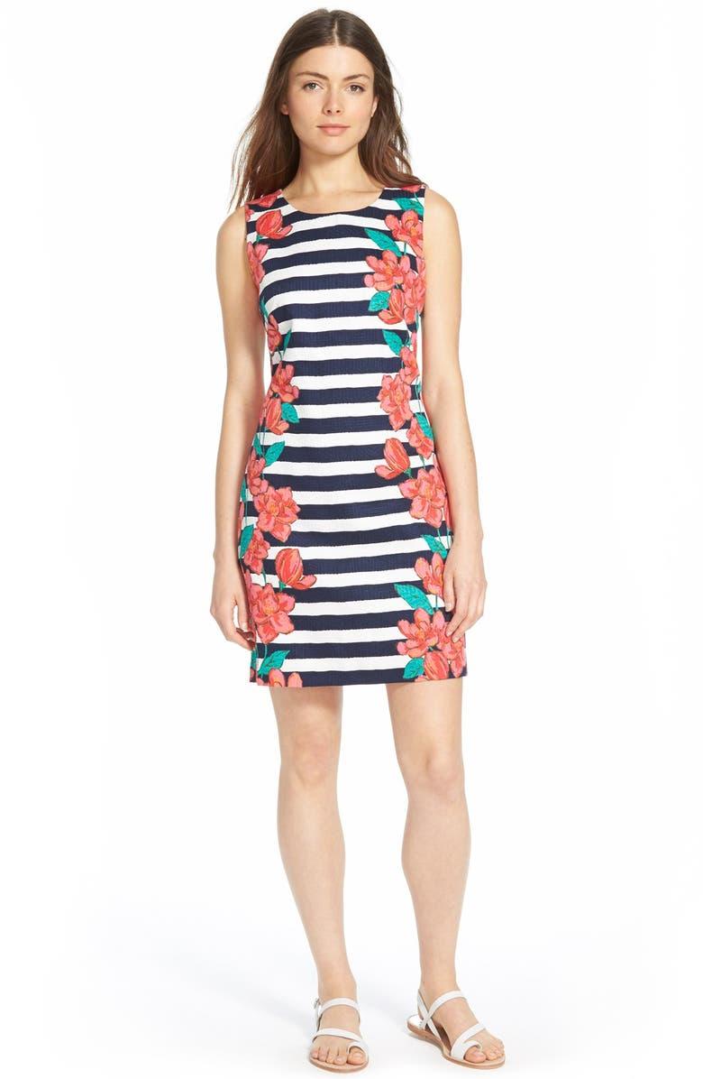 VINEYARD VINES 'Magnolia Stripe' Shift Dress, Main, color, 111
