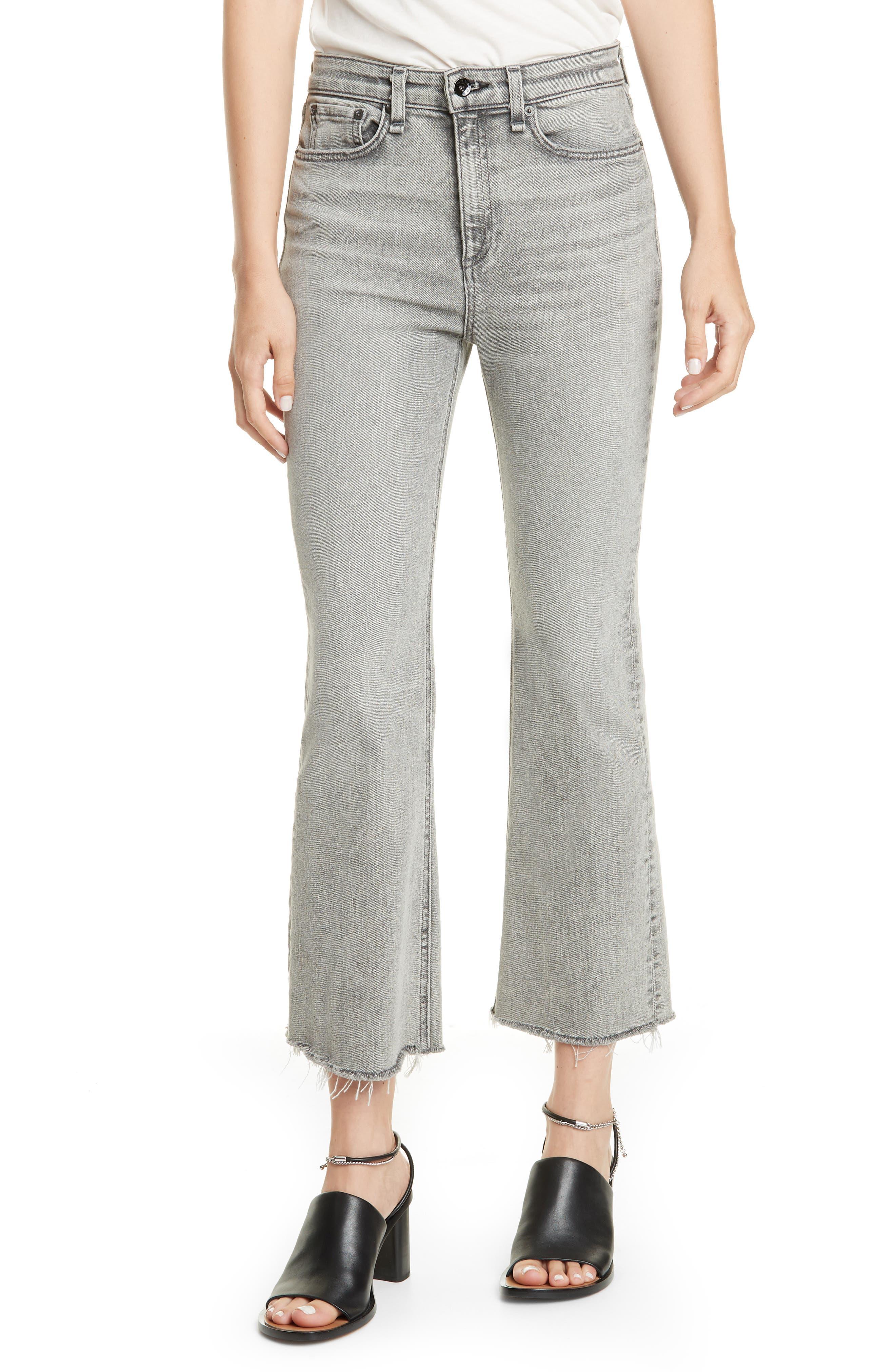rag & bone Nina High Waist Flare Ankle Jeans (Broderick)