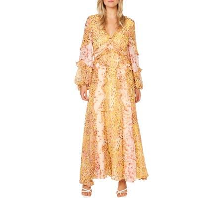 Bardot Mixed Print Long Sleeve Ruffle Maxi Dress, Ivory