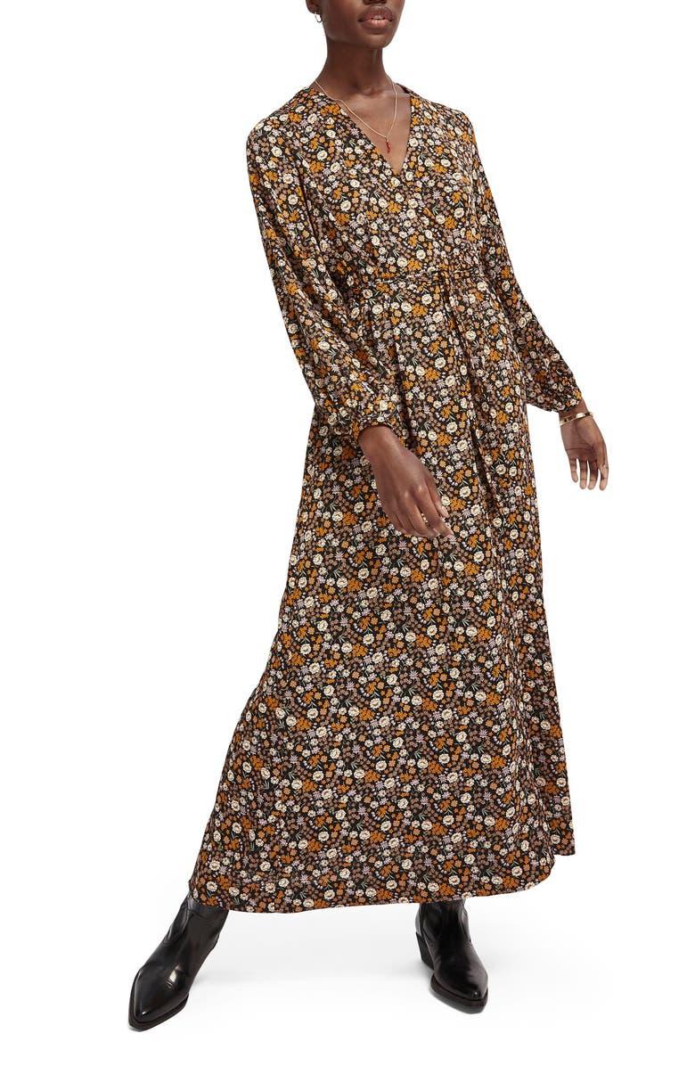 SCOTCH & SODA Print Tie Waist Maxi Dress, Main, color, COMBO E