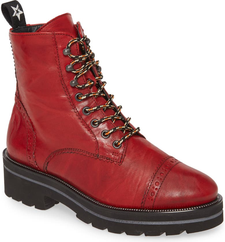 PAUL GREEN Ceylo Combat Boot, Main, color, RED SPORTNAPPA