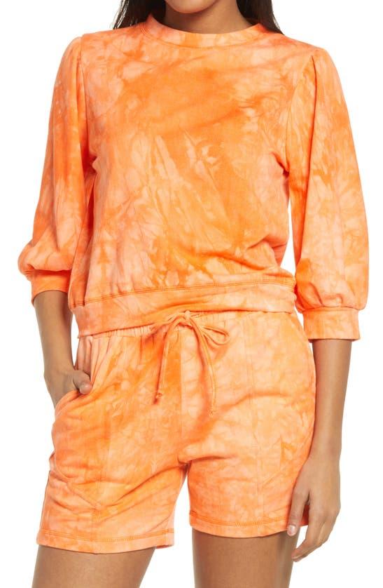 Kendall + Kylie Tie Dye Crewneck Sweatshirt In Orange Tie-dye
