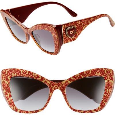 Dolce & gabbana Sacred Heart 5m Gradient Cat Eye Sunglasses - Red Gold Grey Gradient