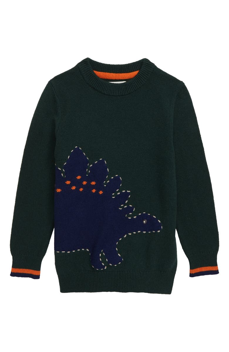 MINI BODEN Dinosaur Graphic Crewneck Sweater, Main, color, GREEN