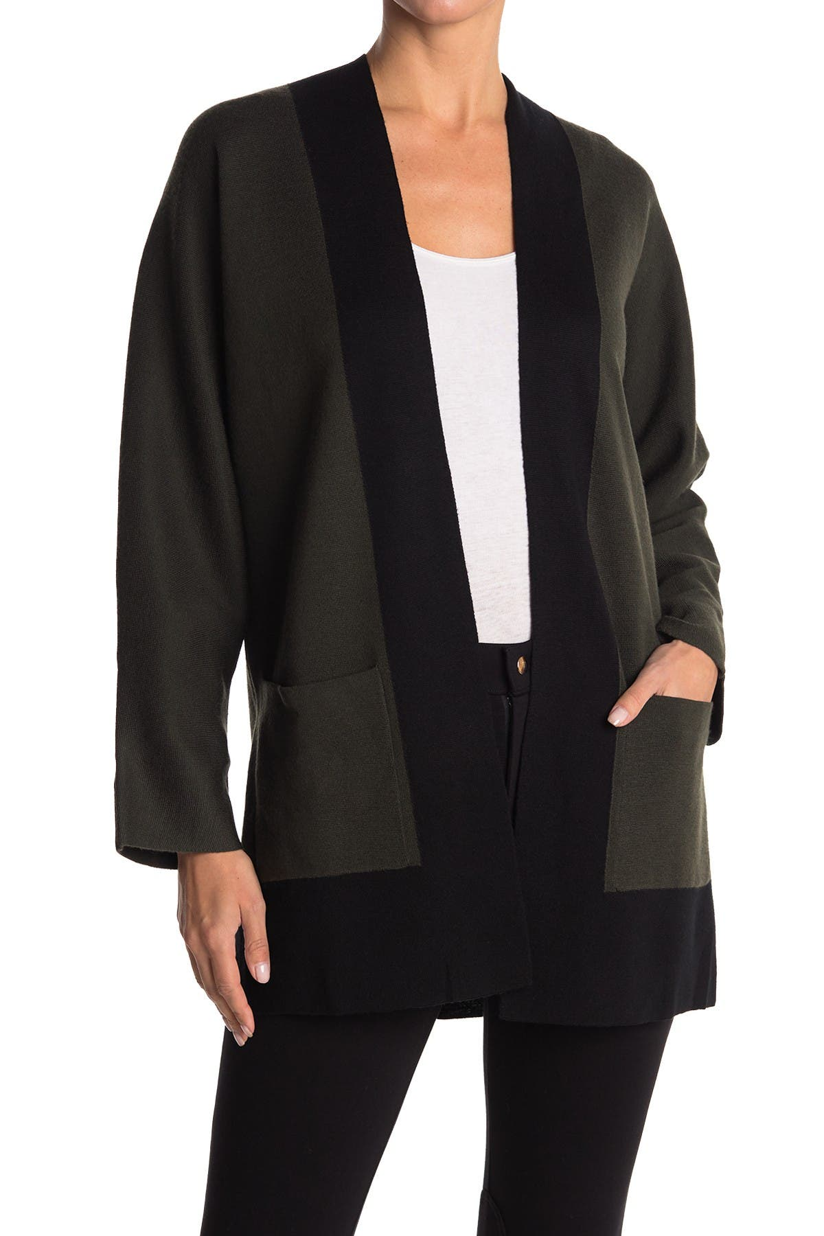Image of Eileen Fisher Colorblock Open Front Carigan