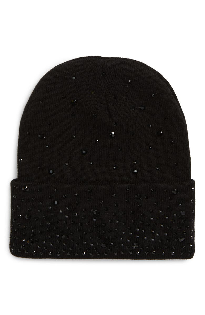 TASHA Embellished Cuff Beanie, Main, color, BLACK