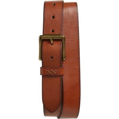 Frye Flat Panel Leather Belt, Cognac