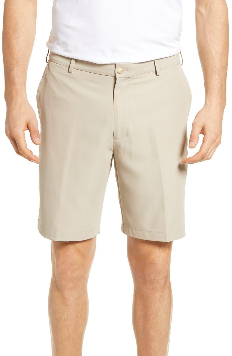 PETER MILLAR Salem High Drape Performance Shorts, Main, color, KHAKI