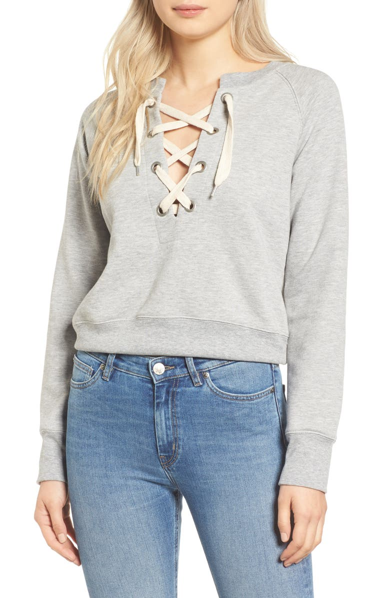 SINCERELY JULES Lace-Up Crop Sweatshirt, Main, color, 025