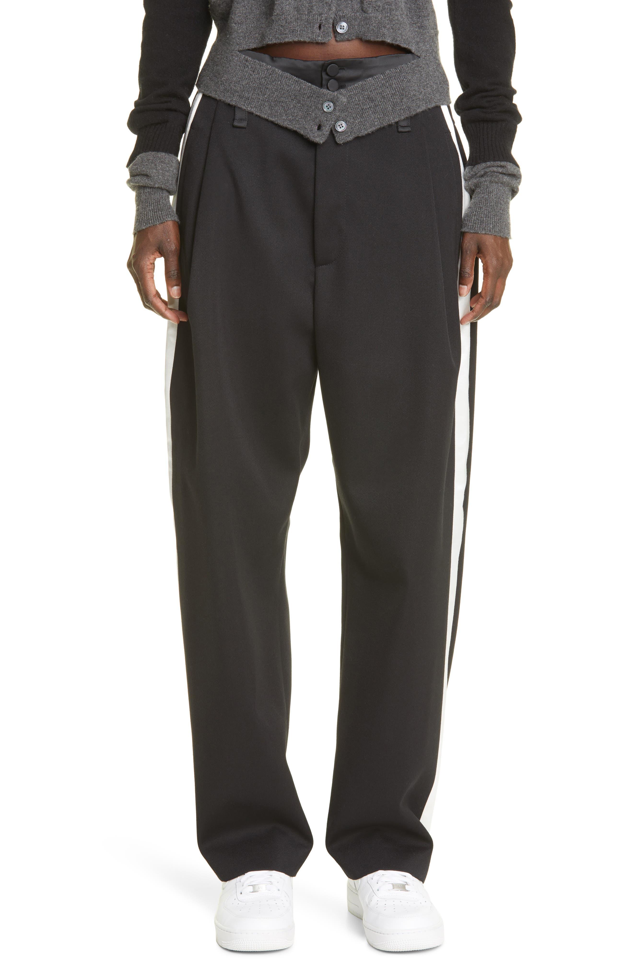 Baggy Pleated Wool Tuxedo Pants