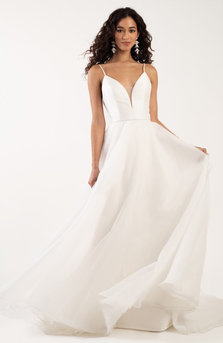 JENNY YOO Lorelei Plunging A-Line Wedding Dress, Main, color, 900