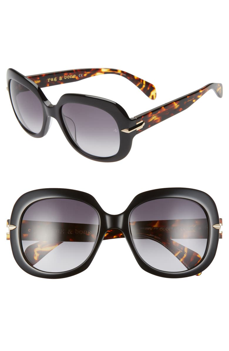 RAG & BONE 55mm Square Sunglasses, Main, color, 001