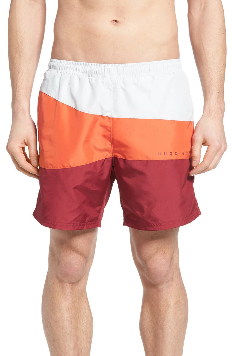 BOSS Butterfly Fish Colorblock Swim Trunks, Main, color, 643