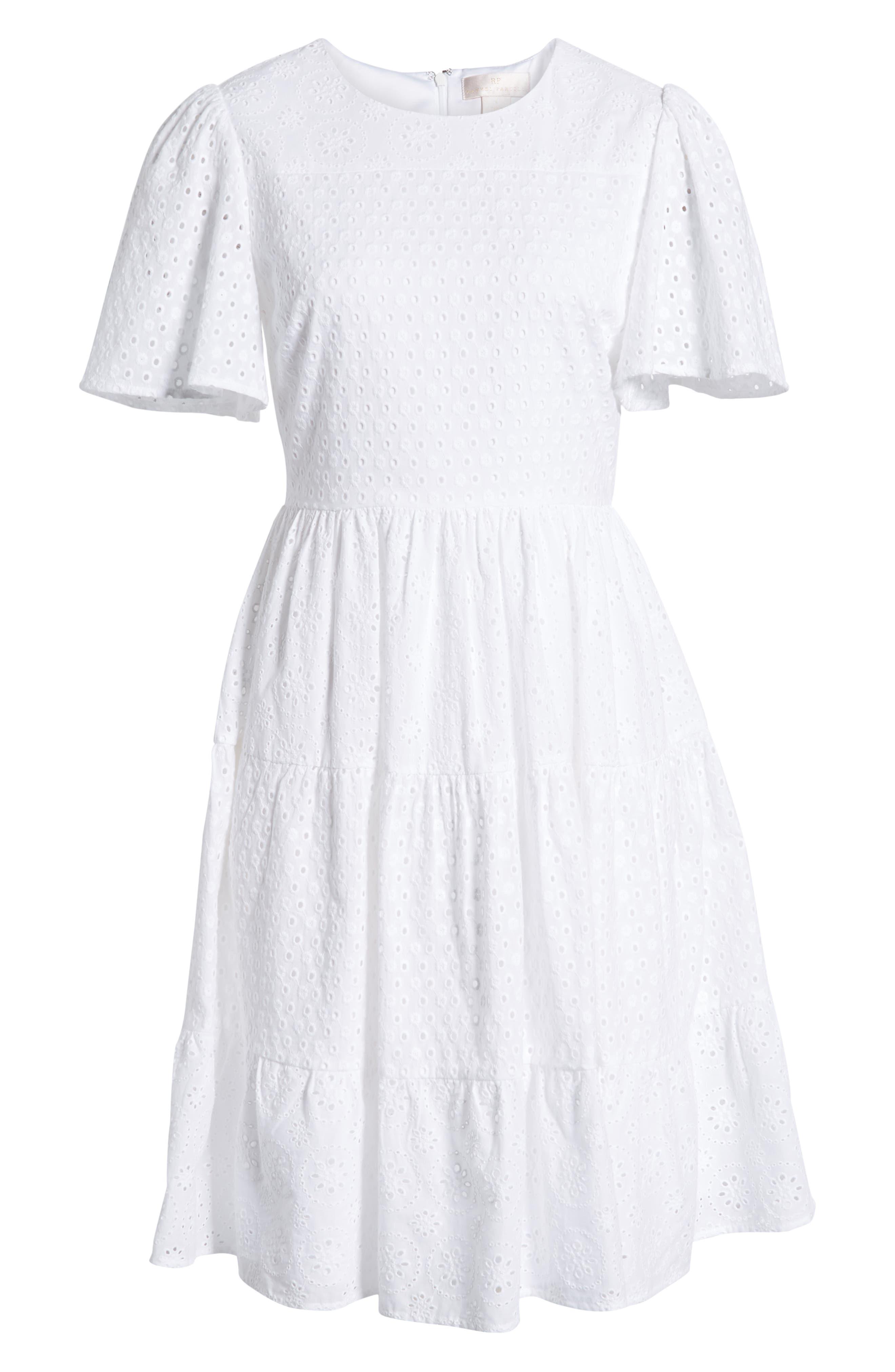 ,                             Mixed Eyelet A-Line Dress,                             Alternate thumbnail 7, color,                             WHITE