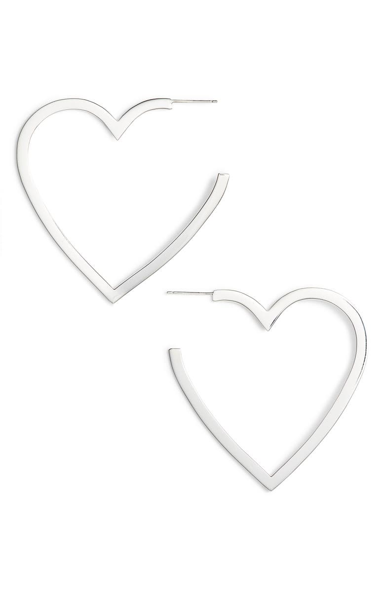 JENNIFER ZEUNER Larissa Medium Open Heart Earrings, Main, color, STERLING SILVER