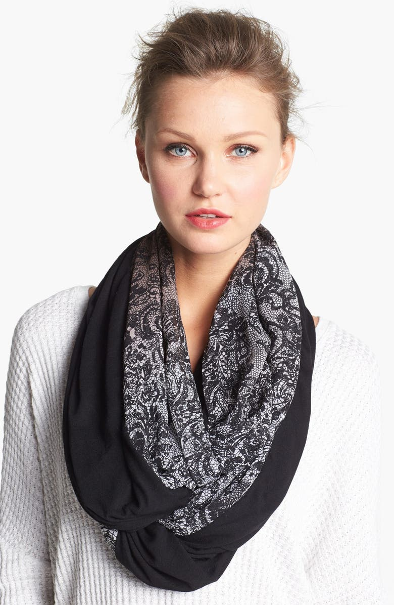 COLLECTION XIIX Lace Print Infinity Scarf, Main, color, 001
