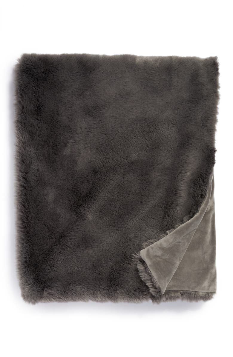 NORDSTROM AT HOME Cuddle Up Faux Fur Throw Blanket, Main, color, GREY ASPHALT