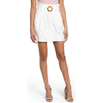 J.o.a. Bulke Textured Dot Paperbag Waist Belted Cotton Miniskirt, Ivory