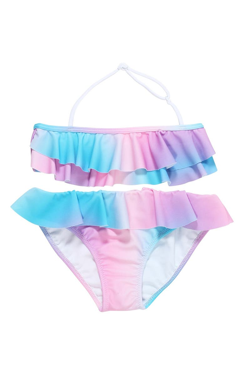 STELLA COVE 'Pastel Rainbow' Ruffle Two-Piece Swimsuit, Main, color, 499