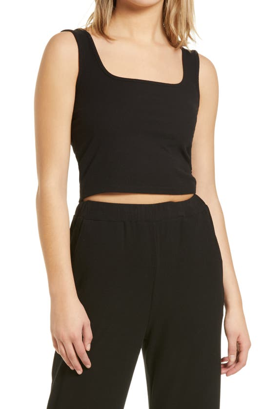 4th & Reckless Danica Square Neck Ribbed Crop Top In Black