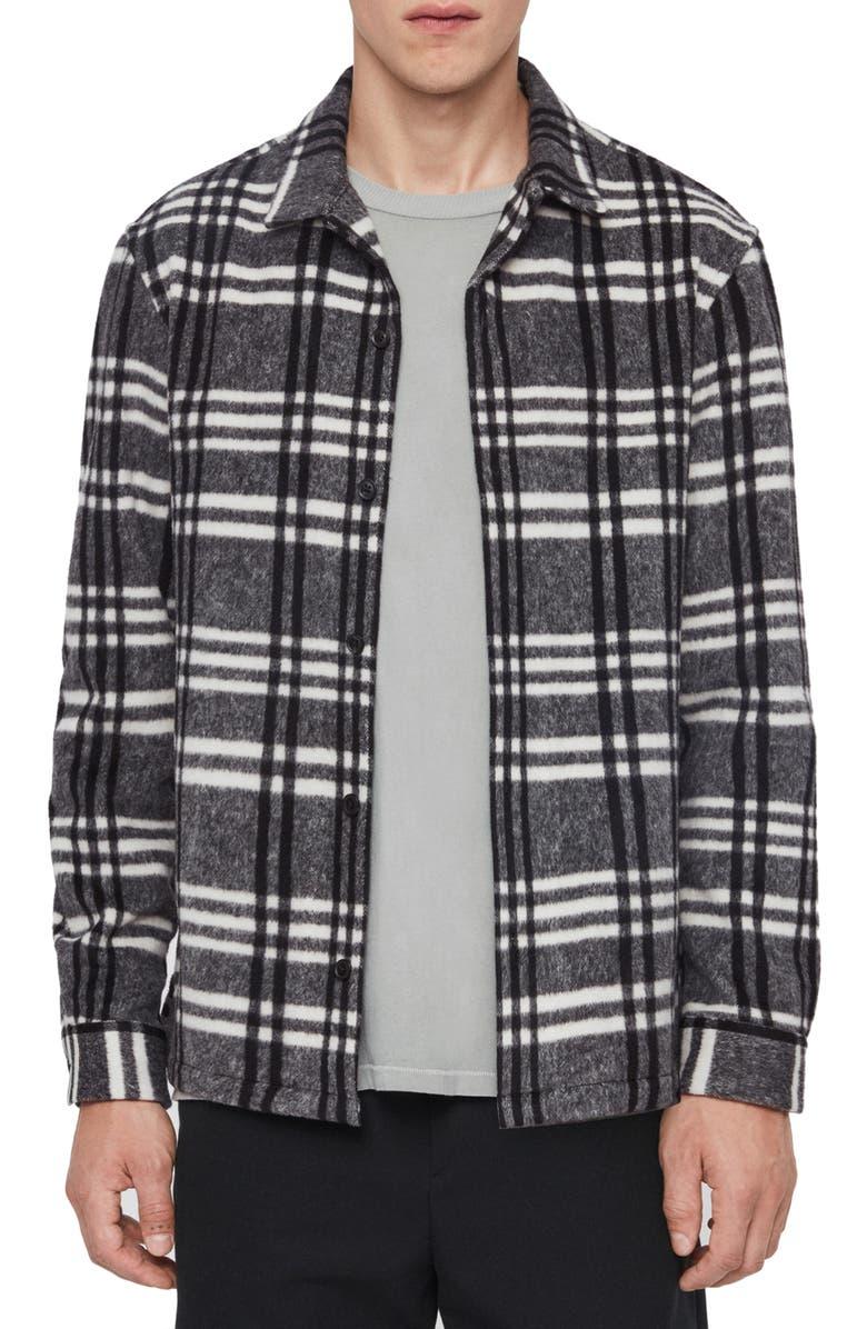 ALLSAINTS Zenith Regular Fit Plaid Button-Up Fleece Overshirt, Main, color, 033