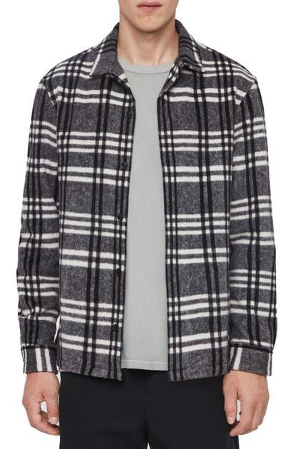 Allsaints Zenith Regular Fit Plaid Button-up Fleece Overshirt In Grey