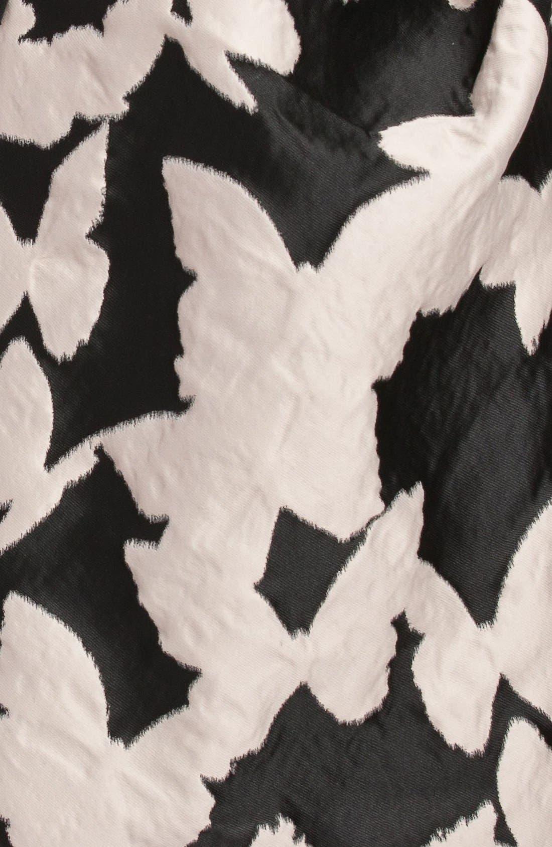 ,                             Butterfly Jacquard Strapless Dress,                             Alternate thumbnail 3, color,                             001