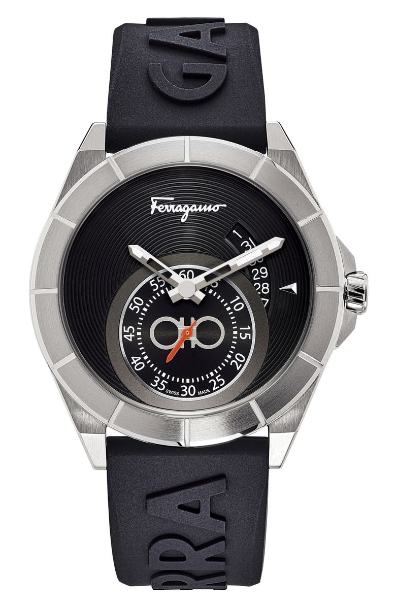SALVATORE FERRAGAMO Urban Silicon Strap Watch, 43mm, Main, color, BLACK/ SILVER