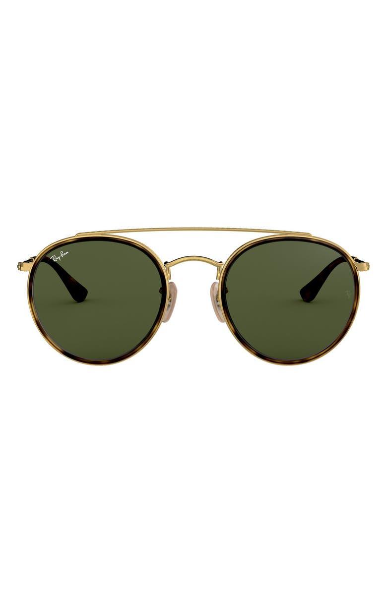 RAY-BAN 51mm Aviator Sunglasses, Main, color, GOLD/ GREEN