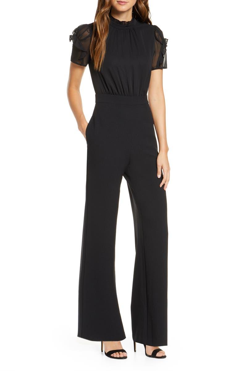 VINCE CAMUTO Chiffon & Crepe Jumpsuit, Main, color, BLACK