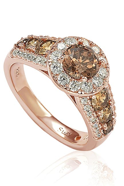 Image of Suzy Levian Rose Tone Sterling Silver CZ Pave Ring