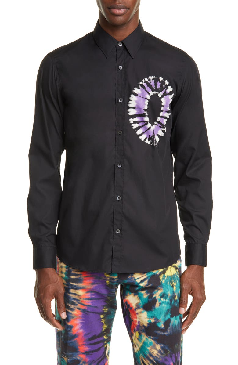 DRIES VAN NOTEN Tie Dye Print Button-Up Shirt, Main, color, BLACK