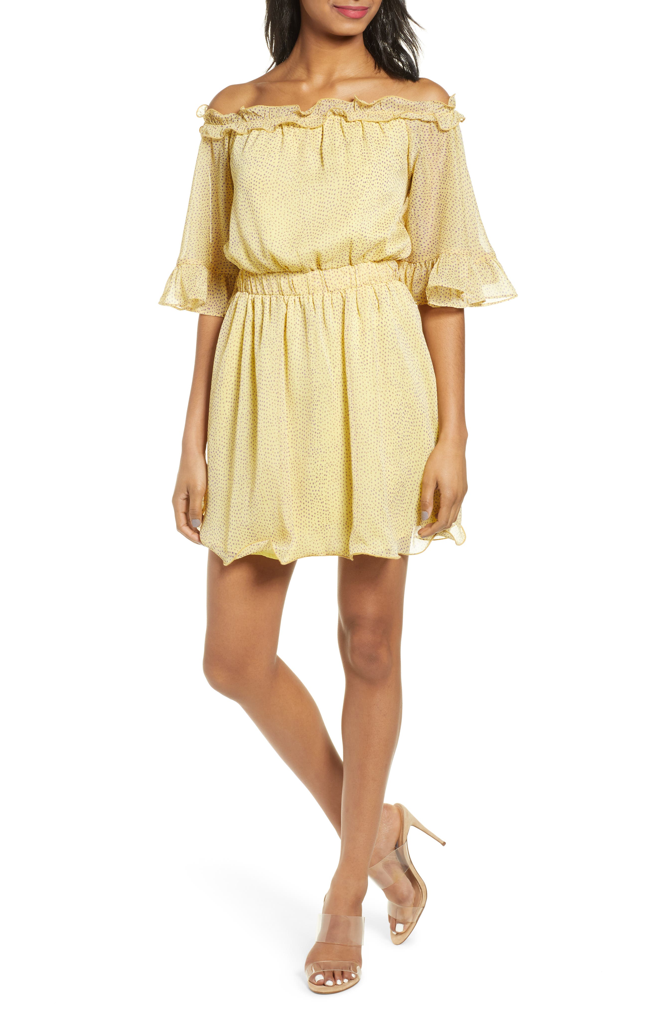 Endless Rose Off The Shoulder Minidress, Yellow