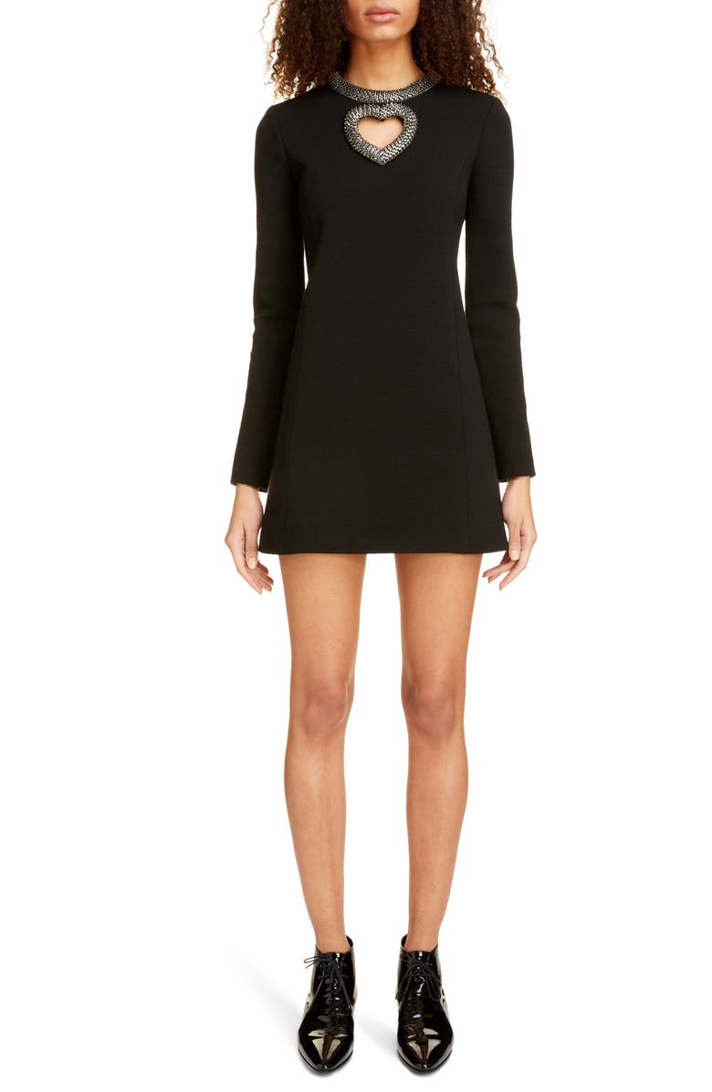 SAINT LAURENT Embellished Heart Cutout Long Sleeve Minidress, Main, color, NOIR
