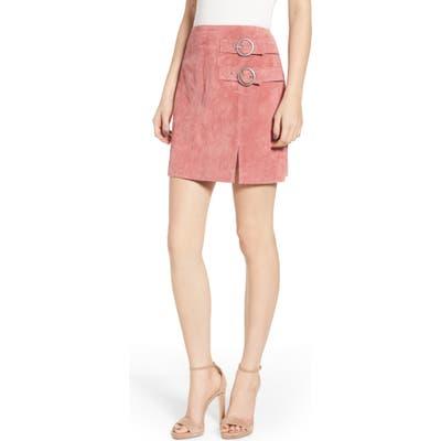Blanknyc Suede Buckle Skirt, Coral