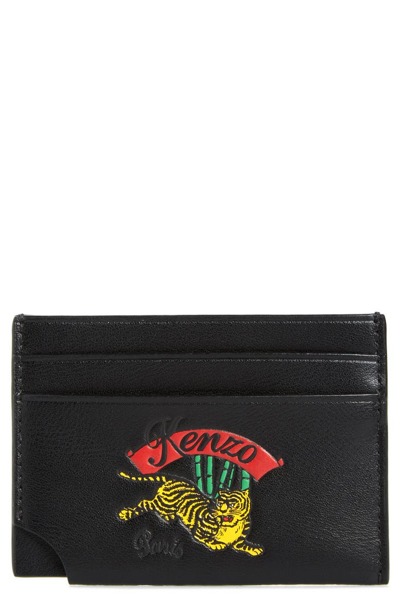 KENZO Leather Card Case, Main, color, 001