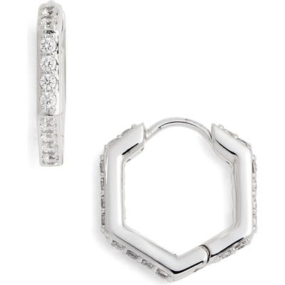 Nadri Hexagon Huggie Earrings