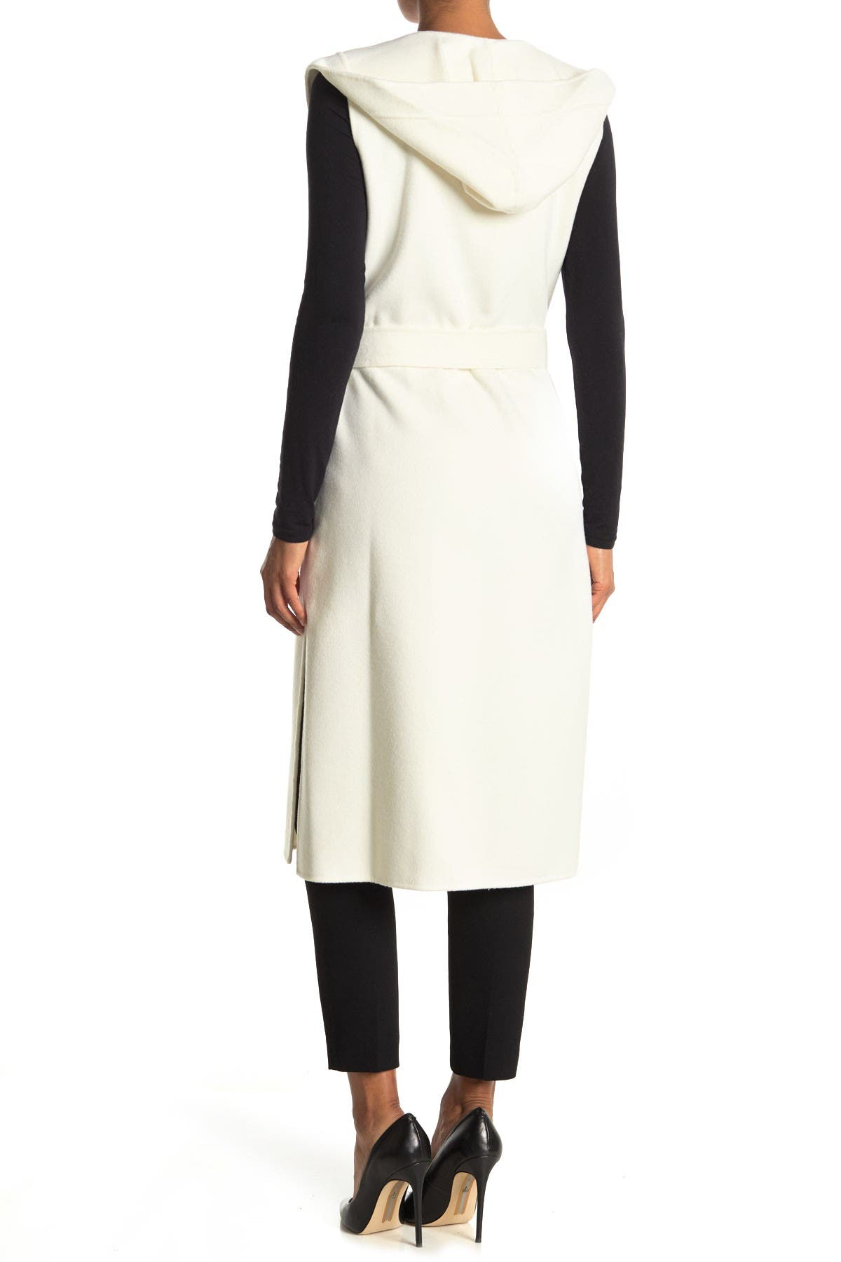 Image of BCBGMAXAZRIA Belted Hooded Wool Blend Vest