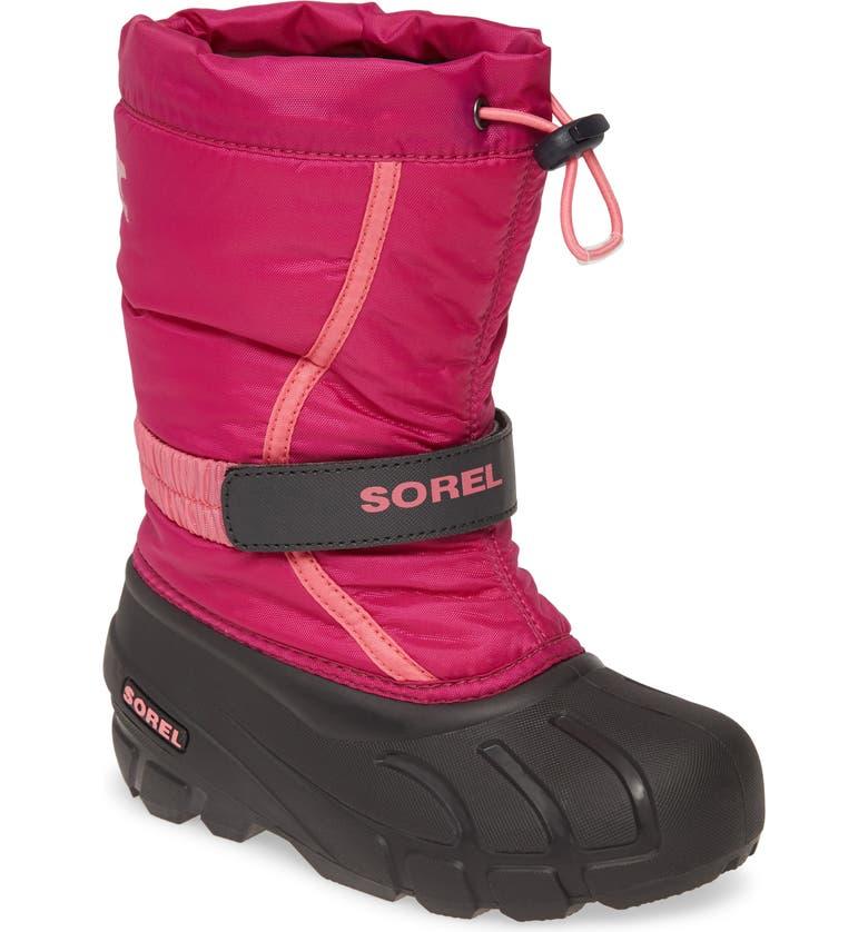 SOREL Flurry Weather Resistant Snow Boot, Main, color, DEEP BLUSH/ TROPIC PINK MULTI