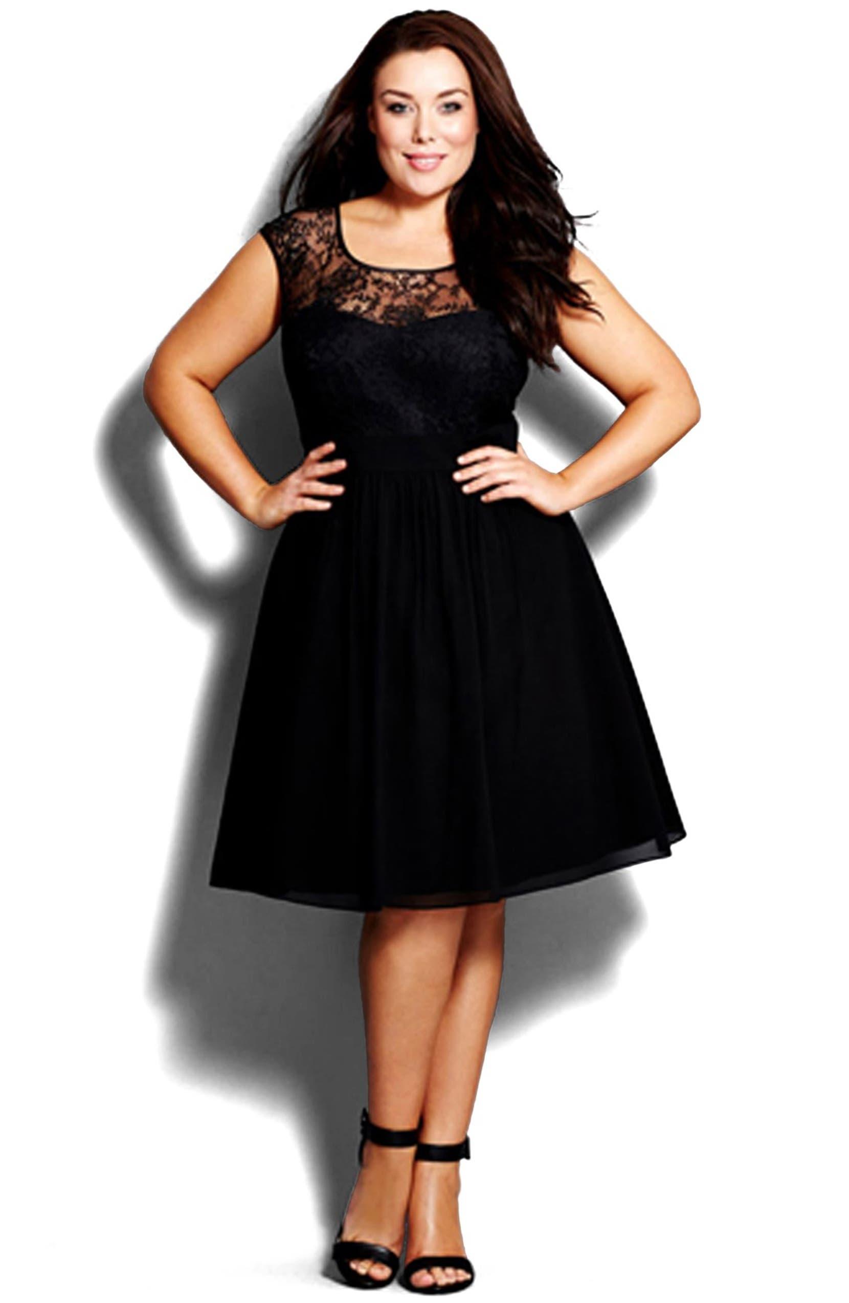 City Chic \'Lace Goddess\' Fit & Flare Dress (Plus Size ...