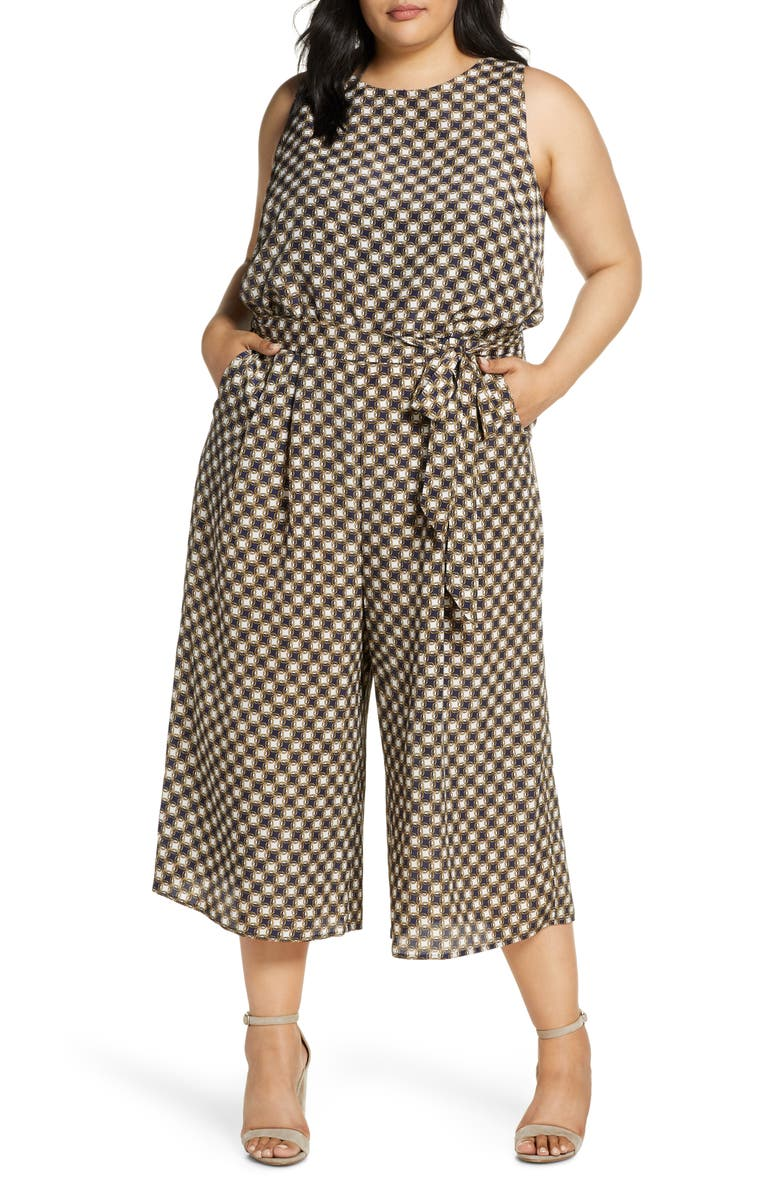 VINCE CAMUTO Sleeveless Cropped Jumpsuit, Main, color, IVORY/ NAVY