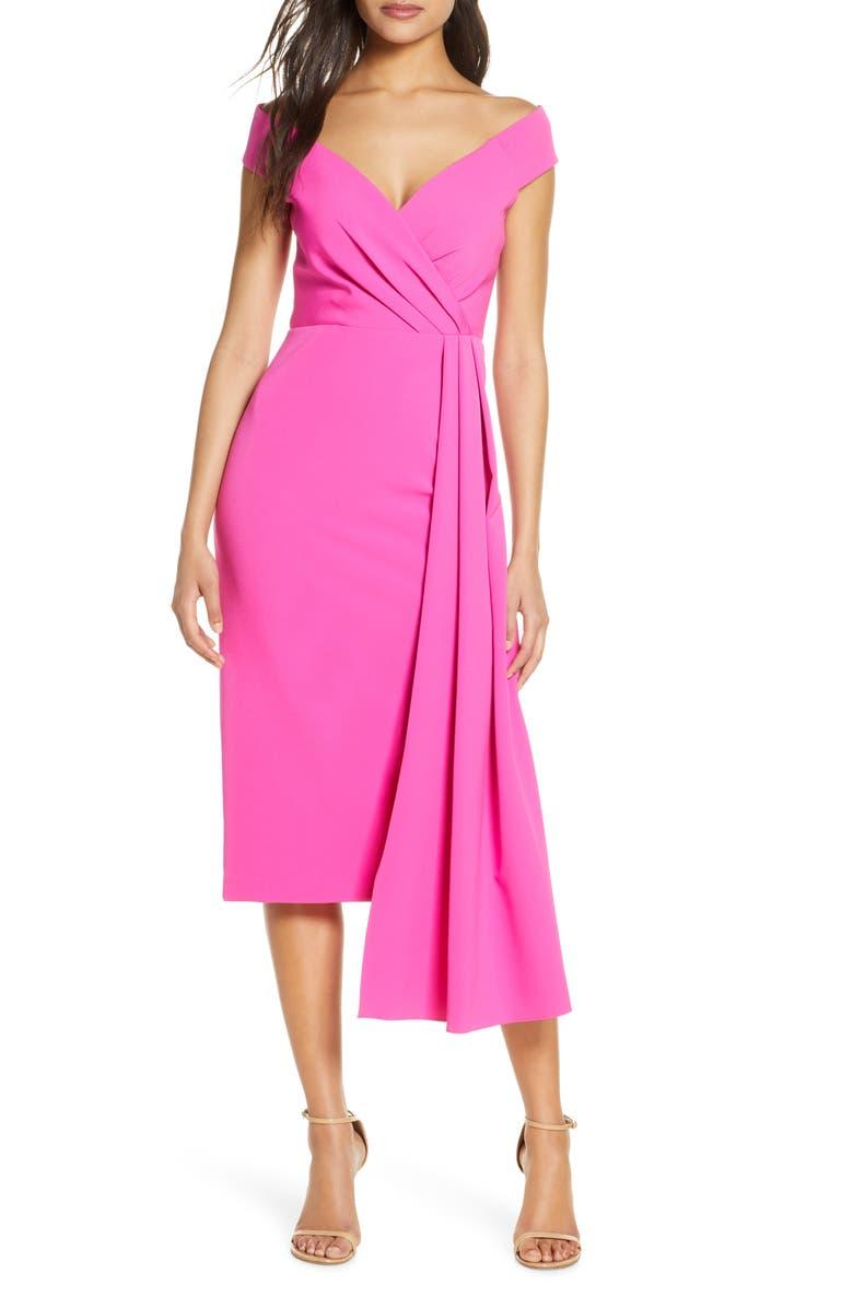 ELIZA J Off the Shoulder Midi Dress, Main, color, 650