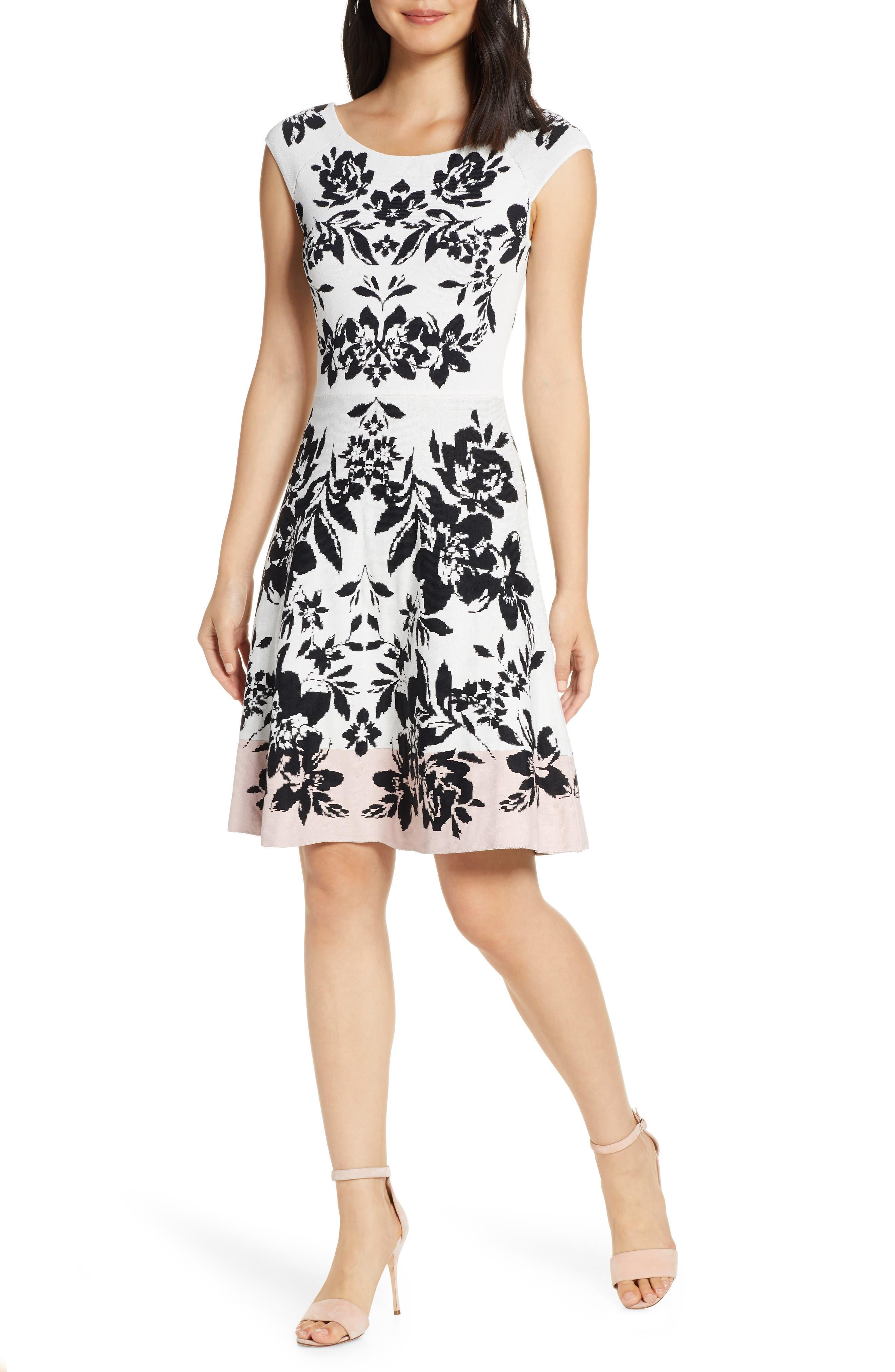Petite Eliza J Jacquard Fit & Flare Sweater Dress, Pink