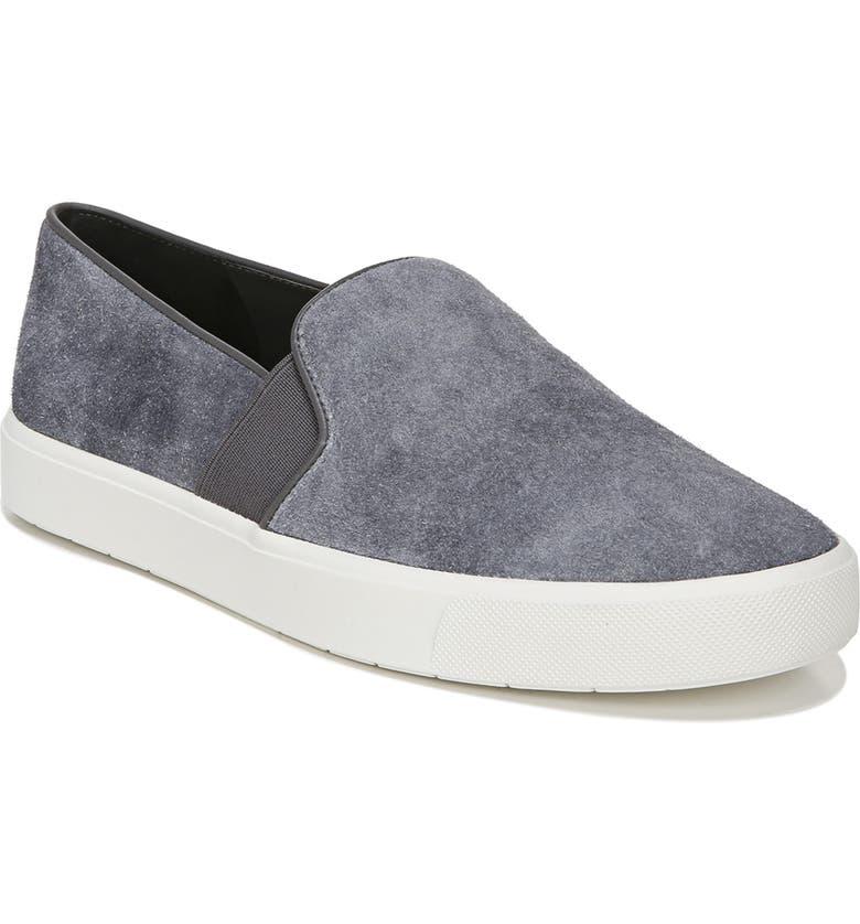 VINCE 'Blair 12' Leather Slip-On Sneaker, Main, color, ASPHALT