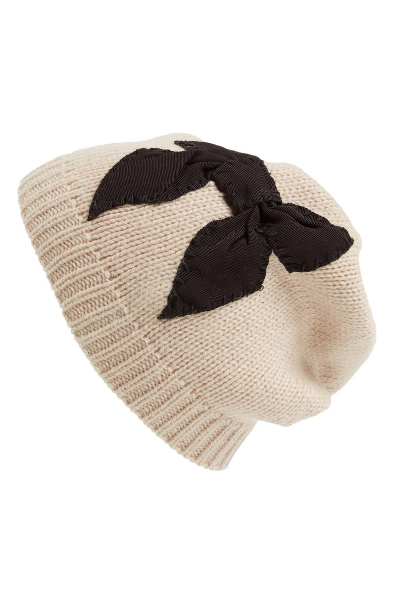 KATE SPADE NEW YORK stitched bow slouched beanie, Main, color, 250