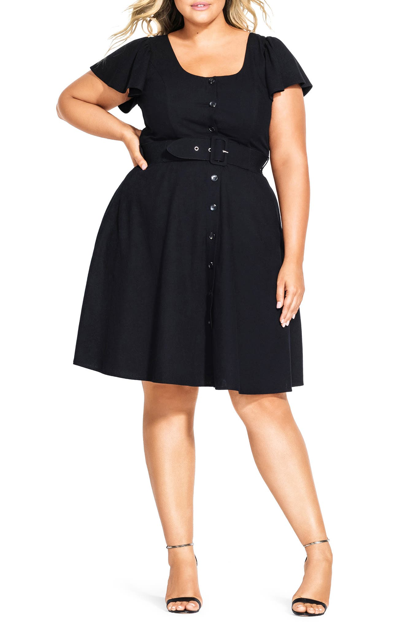 Plus Size City Chic Flutter Sleeve Belted Cotton Blend Dress, Black